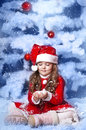Free Little Girl Dressed As Santa Claus Stock Images - 28194504