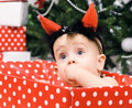 Free Christmas Baby Girl With Horn Stock Photo - 28195480