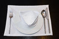Free White Napkins Folded As Triangles On Plates With Silverware Royalty Free Stock Images - 28195779