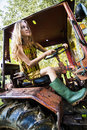 Free Farmer Woman Working On Tractor Royalty Free Stock Image - 28197776