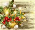 Free Christmas Background With Decorated  Pine Branches On Wooden Tex Stock Image - 28199031