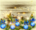Free Christmas Background With Fur Branches And Baubles On Vector Woo Stock Photos - 28199143