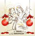 Free Christmas Hand Drawn Greeting Card With Holy Family Royalty Free Stock Image - 28199826