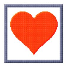 Free Cubes Pixel Image Of Red Heart In Gray Frame Stock Images - 28193454