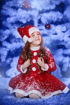 Free Little Girl Dressed As Santa Claus Stock Photography - 28194772