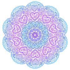 Ornamental Round Hearts Pattern In Indian Style Royalty Free Stock Photos