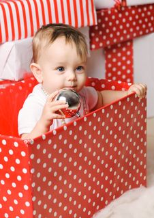 Free Christmas Baby Girl Stock Image - 28195381