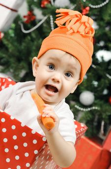 Free Christmas Baby Girl Stock Images - 28195464