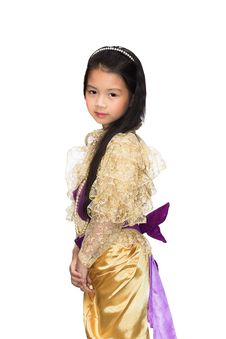 Portrait Of The Thai Beautiful Little Girl In Thai Style Traditi