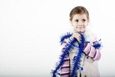 Girl Celebrating Christmas Stock Images
