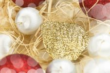 Free Christmas Card With Balls And Gold Leaf Stock Images - 28199384
