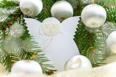 Free Christmas Card With Paper Angel, Balls And Spruce Twig Royalty Free Stock Photo - 28199635