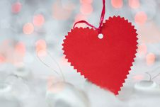 Free Christmas Card With Paper Heart Stock Images - 28199954