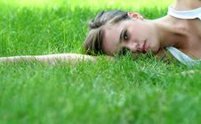 Free Woman Lying On Grass Stock Photo - 2826470