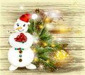 Free Greeting Christmas And New Year Card With Snowman Holding Gift O Stock Photos - 28200453