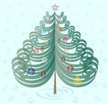 Free Christmas Tree With Toys On Cyan Background Royalty Free Stock Photo - 28207215