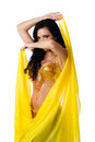 Free Belly Dancer Posing With A Bright Yellow Silk Veil Stock Photo - 28209340