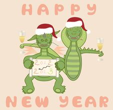 Free Dragon And Snake Celebrate The New Year Royalty Free Stock Photos - 28207218