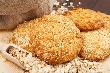 Free Cookies With Sesame Seeds Stock Images - 28208604