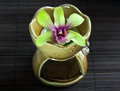 Free Green Orchid On Aroma Oil Container Stock Image - 28211041