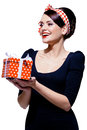 Free Gorgeous Brunette With Gift Box Royalty Free Stock Image - 28218176