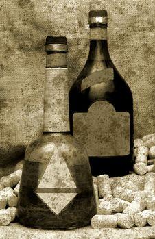Vintage Liquor Bottles Stock Image