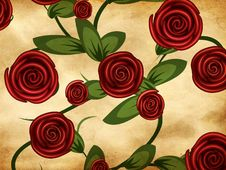 Roses On Grunge Paper Stock Photo
