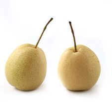 Free Two Fully Ripe Organic Pears On White Stock Photography - 28217422