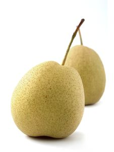 Free Closeup Of Two Juicy Organic Pears On White Royalty Free Stock Image - 28217846