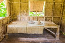 Bamboo Bed In Thai Style Demonstrated Bamboo Cottage Stock Photo