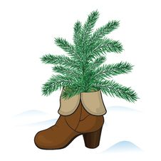 Free Boot With Fir Tree Royalty Free Stock Photo - 28221485