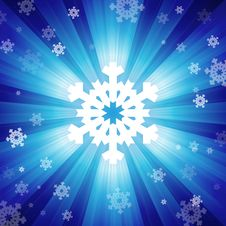 Free Blue Color Burst Of Light With Snowflakes Stock Images - 28223754