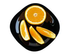 Free Slices Of Orange On A Black Plate Stock Photo - 28229400
