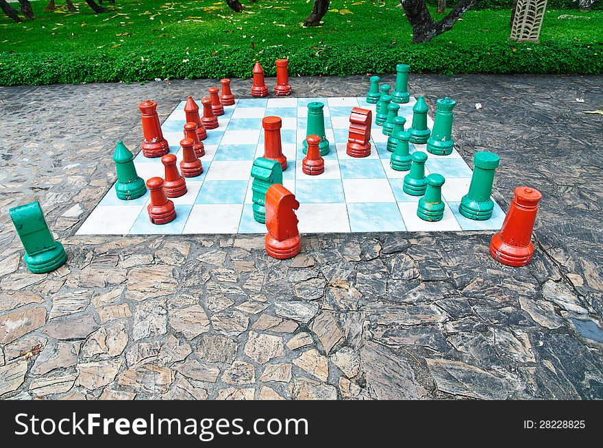 Big chess set in the park