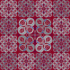 Free Abstract Pattern With Grey Flowers On Red Royalty Free Stock Photos - 28241358