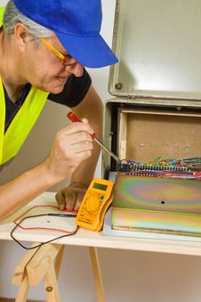 Free Electrician At Work Royalty Free Stock Photo - 28247855