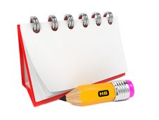 Free Open Blank Desktop Notebook  With Pencil. Royalty Free Stock Photography - 28249107
