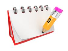Free Open Blank Desktop Notebook  With Pencil. Royalty Free Stock Photos - 28249118