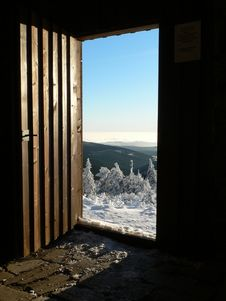 Free Open Door Into New Year At The Hruby Jesenik Mountains Royalty Free Stock Image - 28249806