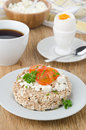 Free Bread With Cottage Cheese, Cherry Tomatoes, Boiled Egg And Coffe Royalty Free Stock Image - 28252746