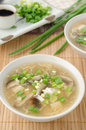 Free Chinese Spicy Soup With Egg, Shiitake Mushrooms, Tofu And Green Royalty Free Stock Photo - 28252755