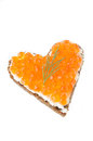 Free Sandwich With Red Caviar In The Form Of A Heart  Isolated Royalty Free Stock Images - 28252889