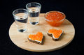 Free Two Sandwich With Red Caviar In The Form Of A Heart  And Vodka Stock Image - 28252931