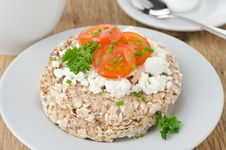 Bread With Cottage Cheese, Cherry Tomatoes For Breakfast Royalty Free Stock Photography