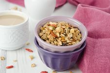 Free Homemade Granola With Goji Berries In A Bowl Horizontal Stock Photo - 28252800