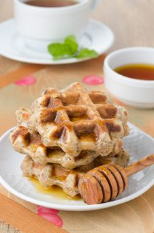 Homemade Waffles With Maple Syrup And Poppy Stock Photography