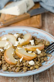 Free Lentil Salad With Caramelized Pears And Blue Cheese Selective Fo Stock Photo - 28252810