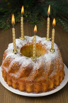 Free Orange And Walnut Cake With Burning Candles Stock Photo - 28252830