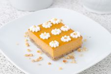 Pumpkin Cake, Decorated With Flowers Made Of Whipped Cream And N Royalty Free Stock Photos