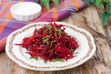 Salad Of Fresh Beets And Carrots With Parsley Stock Photo